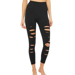 Alo Yoga ripped warrior leggings black xxs